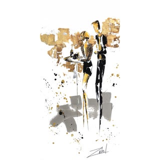 """Tall Vertical Original Artwork by Zabel """"Champagne Et Versace"""" For Sale"""