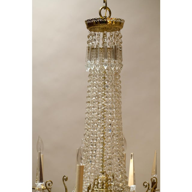 Brass and Crystal Gasolier For Sale - Image 4 of 13