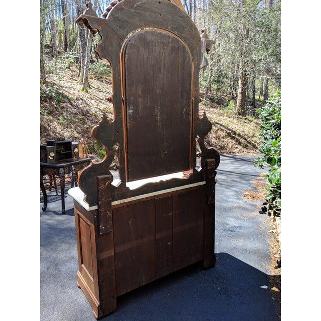 20th Century Renaissance Revival 3-Drawer Marble Top Walnut Dresser & Vanity Mirror For Sale - Image 12 of 13