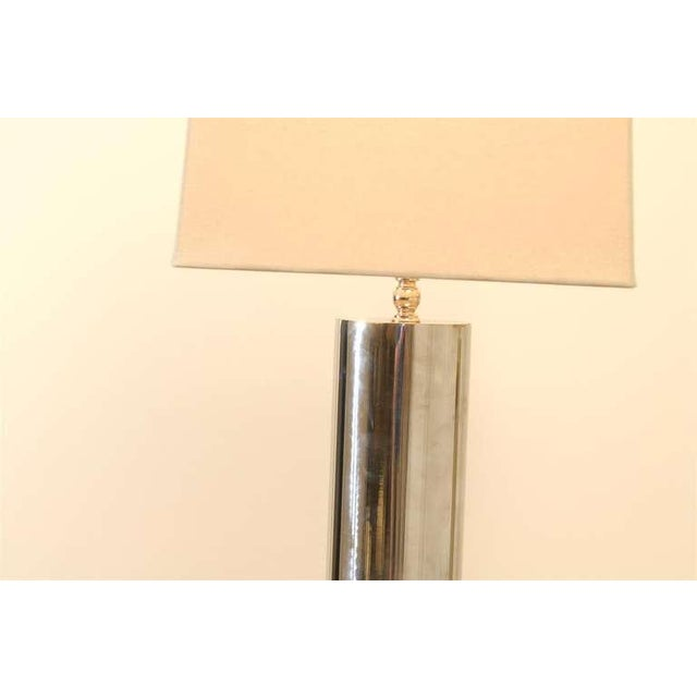 Handsome Pair of Modern Cylinder Lamps in Nickel and Brass For Sale - Image 4 of 7