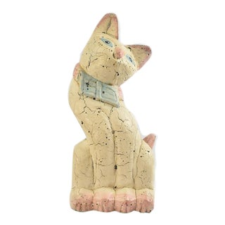 Mid Century Painted Cat Sculpture For Sale