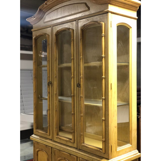 Vintage Yellow Faux Bamboo China Cabinet For Sale In Atlanta - Image 6 of 13