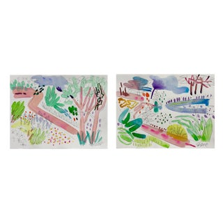 "English Garden , Set of Two. Two 11x15"" Watercolors For Sale"