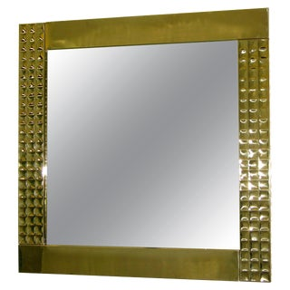 1970 Italian Handcrafted Brass Mirrors With Gold Jewel-Like Detail For Sale