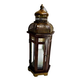 Moroccan Style Glass and Wood Hexagon Lantern Lamp For Sale