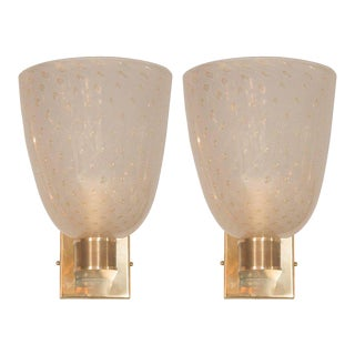 Mid Century Barovier & Toso Brass 24 Karat Gold and Murano Glass Sconces - a Pair For Sale