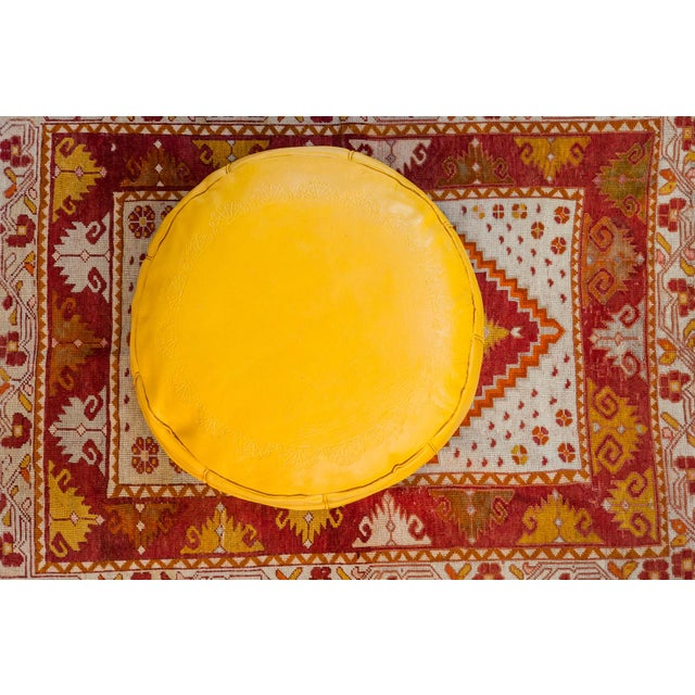 Moroccan Antique Revival Leather Moroccan Pouf Ottoman - Fly Yellow For Sale - Image 3 of 8