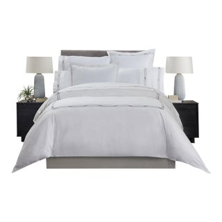 Saint-Tropez Embroidered Duvet Cover Queen - Slate/Platinum For Sale