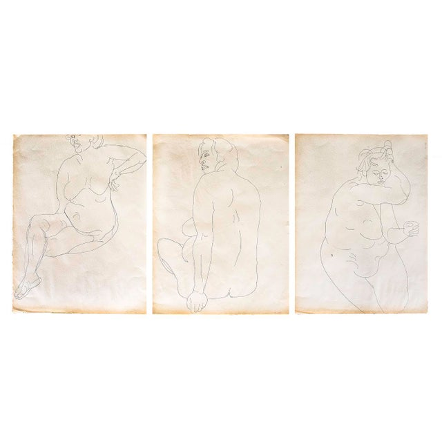 Original Large Scale Mid-Century Triptych of Nudes - Set of 3 - Image 9 of 9