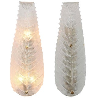 Large Mid Century Modern Murano Textured Clear Glass Leaf Sconces- A Pair For Sale