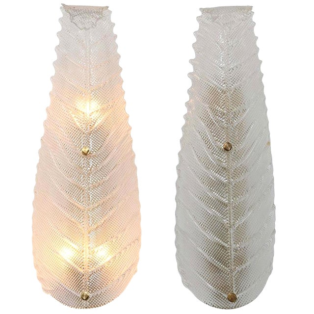 Pair of Large Mid Century Modern Murano Textured Clear Glass Leaf Sconces For Sale