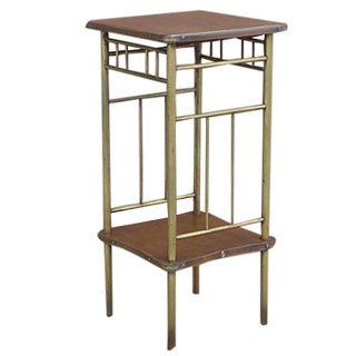 Rockhausen Art Deco Brass & Wood Side Table For Sale