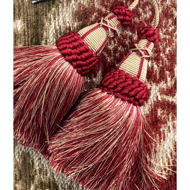 Pair of Key Tassels in Red and Gold With Looped Ruche Trim For Sale - Image 9 of 11