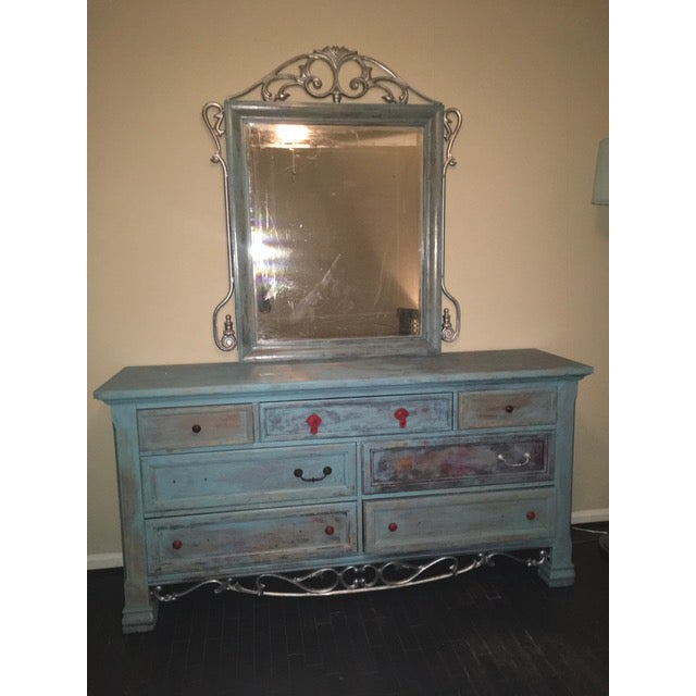 Refinished Blue Solid Wood Dresser And Mirror Chairish