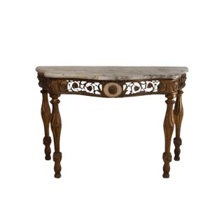 19th Century Italian Neoclassical Mecca Gilt Console With Later Marble Top For Sale