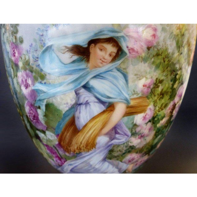 Mid 19th Century 19th Century Hand-Painted Sevres Covered Urn Mounted in Gilt Bronze, Signed For Sale - Image 5 of 11