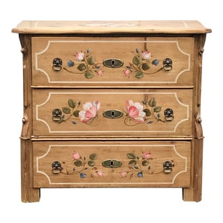 Antique Dutch Folk Paint Decorated Chest of Drawers For Sale
