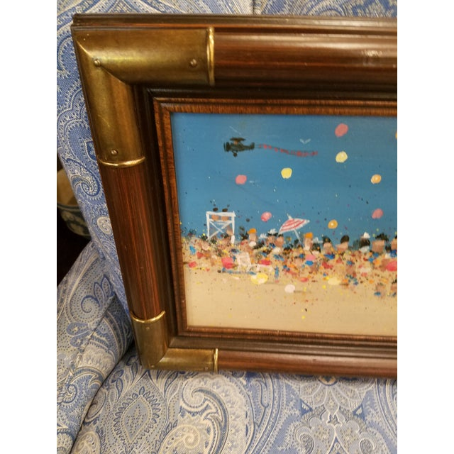 Abstract Mid-Century Beach Scene Original Oil Painting For Sale - Image 3 of 4