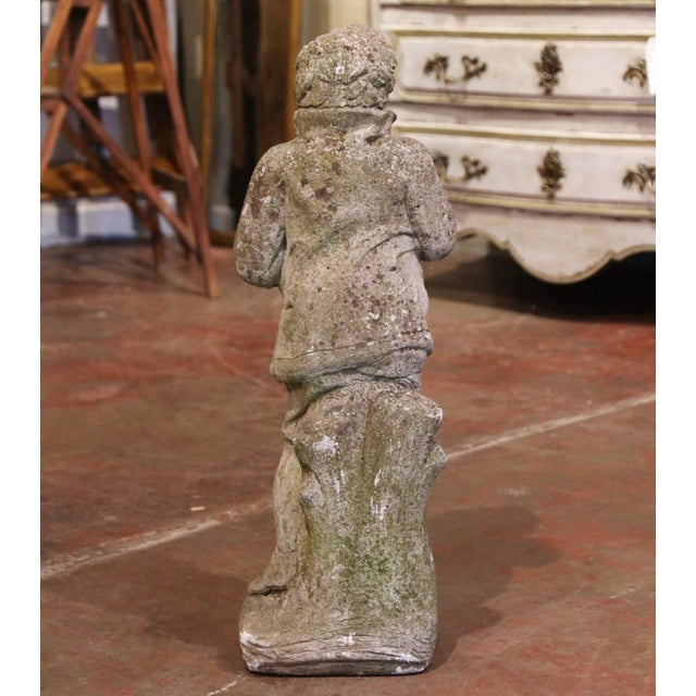 19th Century French Outdoor Carved Weathered Stone Young Man Statue For Sale - Image 4 of 7