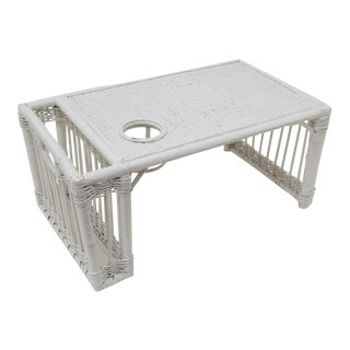 White Wicker Rattan Breakfast in Bed Tray For Sale