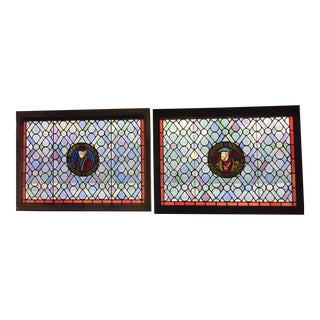 Antique Gothic Stained Glass Panels- a Pair For Sale