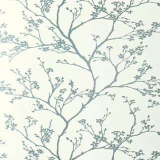 Sample - Schumacher Twiggy Wallpaper in Silver For Sale