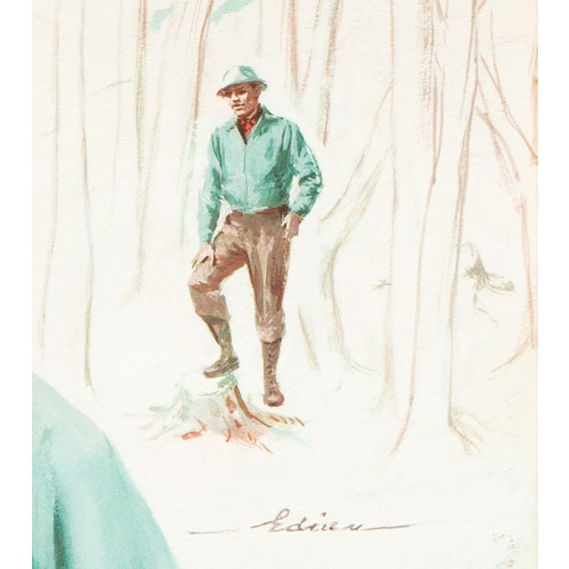 Chuck Miller Timberline Nurse Gouache on Card - Image 2 of 6