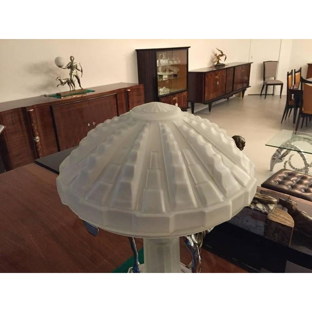 Metal French Art Deco Table Lamp with Geometric Glass Shade For Sale - Image 7 of 9