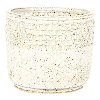 Christian Boehr Ceramic Stoneware Planter —Small Delta Pattern —White Glaze — P53 For Sale