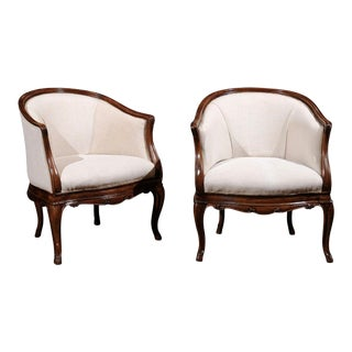 Pair of Tuscan Louis XV Style Walnut Upholstered Club Chairs from Livorno, Italy For Sale