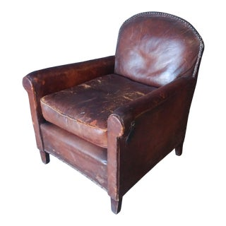 Distressed English Club Chair For Sale