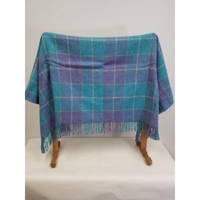 English Wool Throw Aqua Blue, Yellow and Purple Stripes and Squares - Made in England For Sale - Image 3 of 6