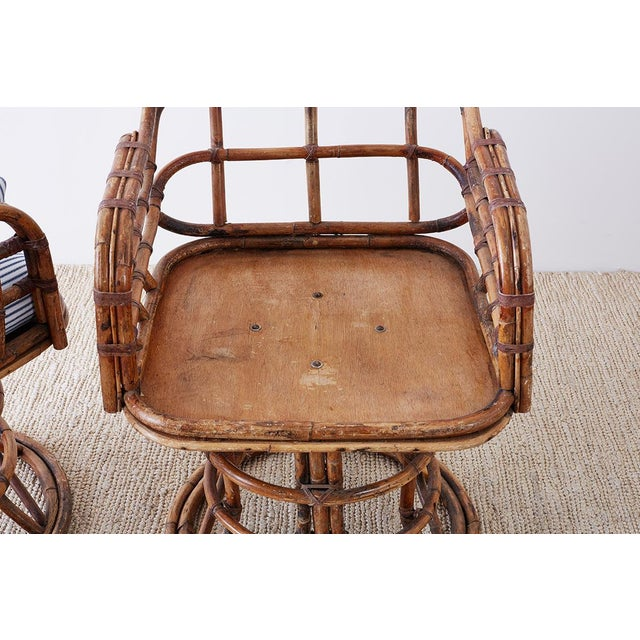 Mid 20th Century Franco Albini Style Bamboo Rattan Swivel Lounge Chairs For Sale - Image 5 of 13
