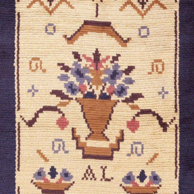 Mid 20th Century Vintage Swedish Wool Rug - 4′ × 9′7 For Sale - Image 5 of 6