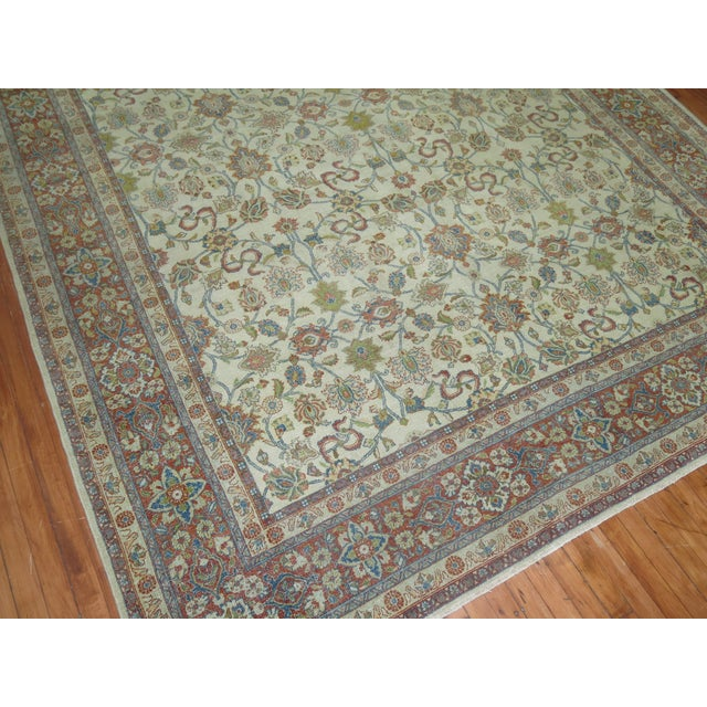 Shabby Chic Ivory Antique Rug, 8'5'' X 11'5'' For Sale - Image 4 of 8