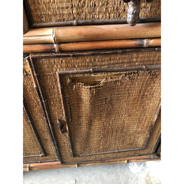 Wood 1940s Boho Chic Bamboo Hutch For Sale - Image 7 of 7
