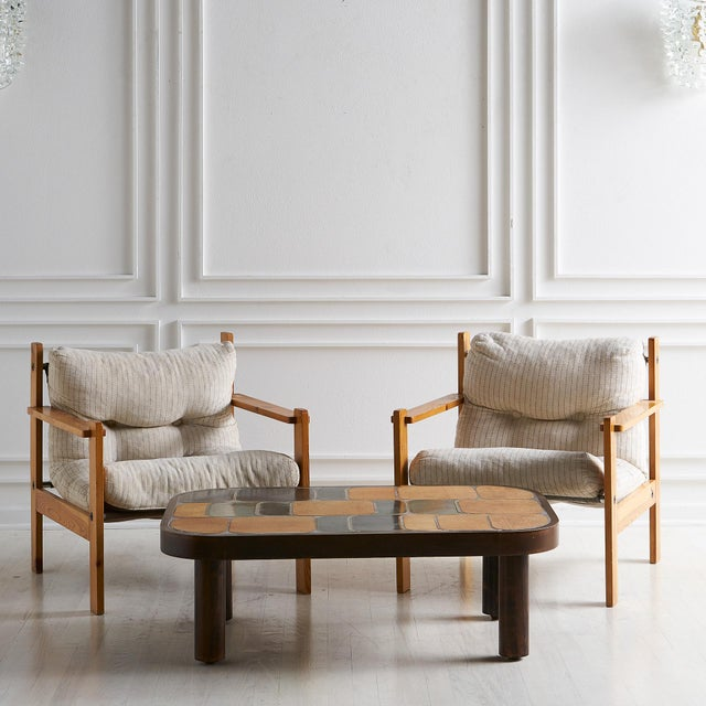 Mid 20th Century Pair of European Wooden Lounge Chairs For Sale - Image 5 of 11