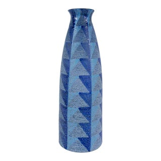 Bitossi Tall Blue Geometric Ceramic Vase For Sale