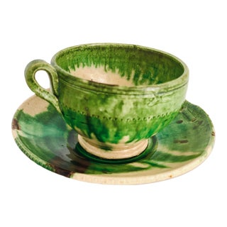 Vintage Studio Art Pottery Handmade Cup and Saucer For Sale
