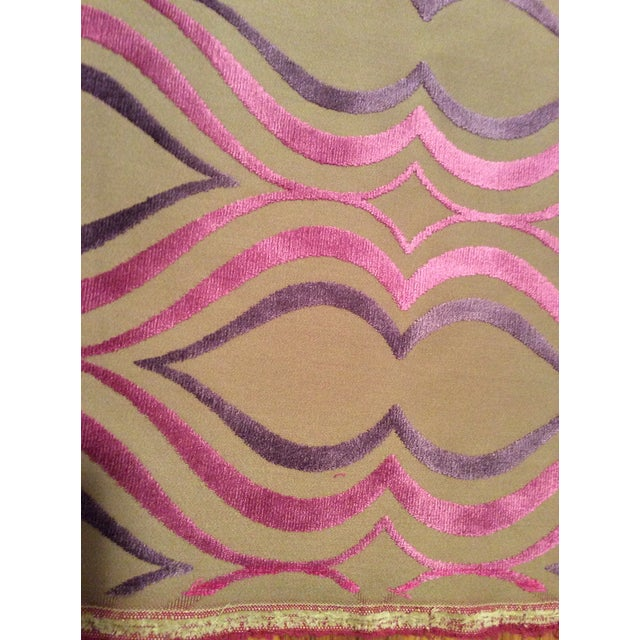 Designers Guild Tan, Pink & Purple Cut Velvet Fabric- 3 Yards - Image 3 of 5