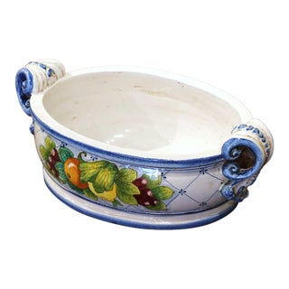 Vintage French Hand Painted Oval Dish With Handles For Sale