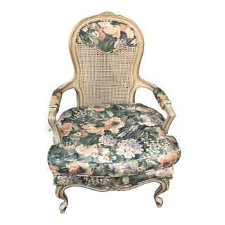 Early 20th Century Vintage Cane Back White French Country Provincial Arm Chair For Sale