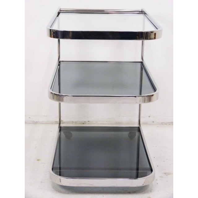 Pace Streamlined 1980s Chrome Flat Bar Tea Cart For Sale - Image 4 of 6