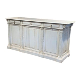 19th Century French Louis Philippe Carved Painted Three-Door Buffet For Sale