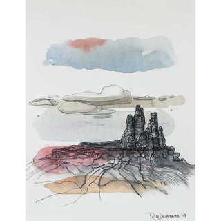 "Rob Delamater ""Chimney Rock, Ghost Ranch"" Desert Landscape in Gouache, 2017 For Sale"