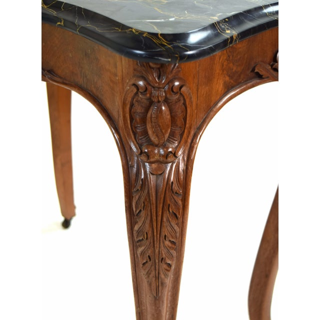 Wood Antique French Louis XV Heavily Carved Marble Top Hall Console Table Cabriolet Legs For Sale - Image 7 of 12