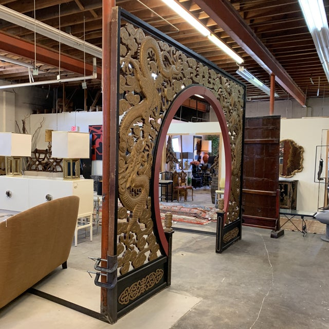 Room Size Wood Carved Chinese Moon Gate For Sale - Image 4 of 13