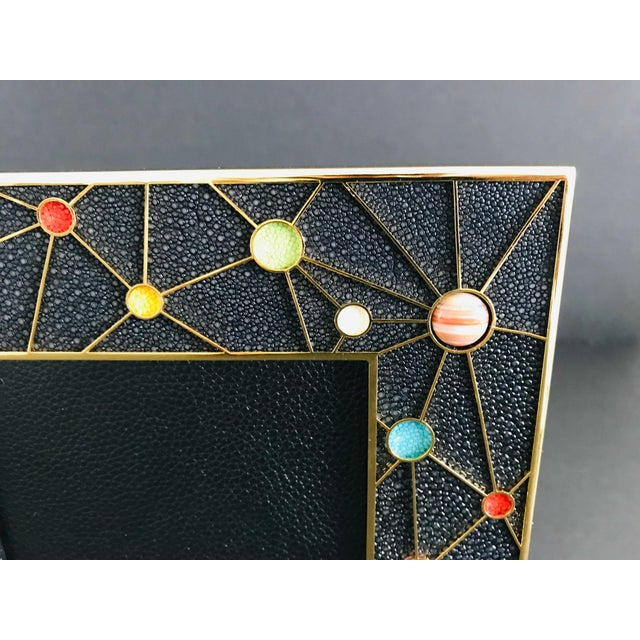 2010s Shagreen With Multi-Color Stones Photo Frame by Fabio Ltd For Sale - Image 5 of 10