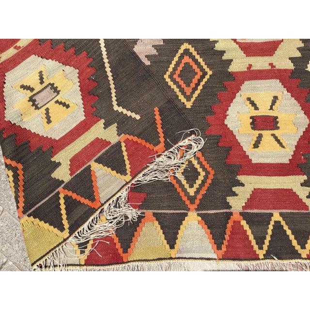 Brick Red Vintage Turkish Kilim Rug For Sale - Image 8 of 9