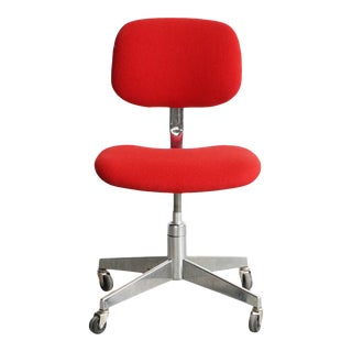 1960s Style Red and Chrome Office Chair For Sale